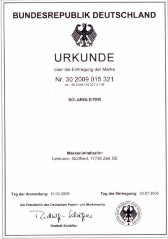 Solargleiter Urkunde